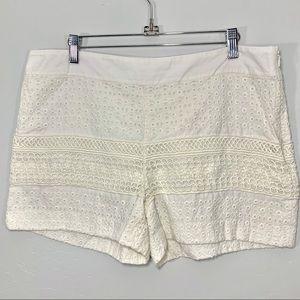 Ann Taylor | Ivory White Eyelet Lace Shorts